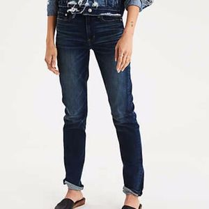 AE Denim Hi-Rise Slim Dark Wash Extra Long Jeans
